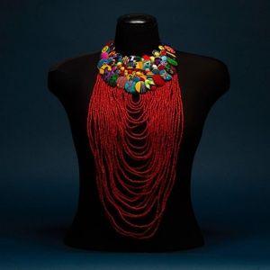 Ankara button and bead necklace